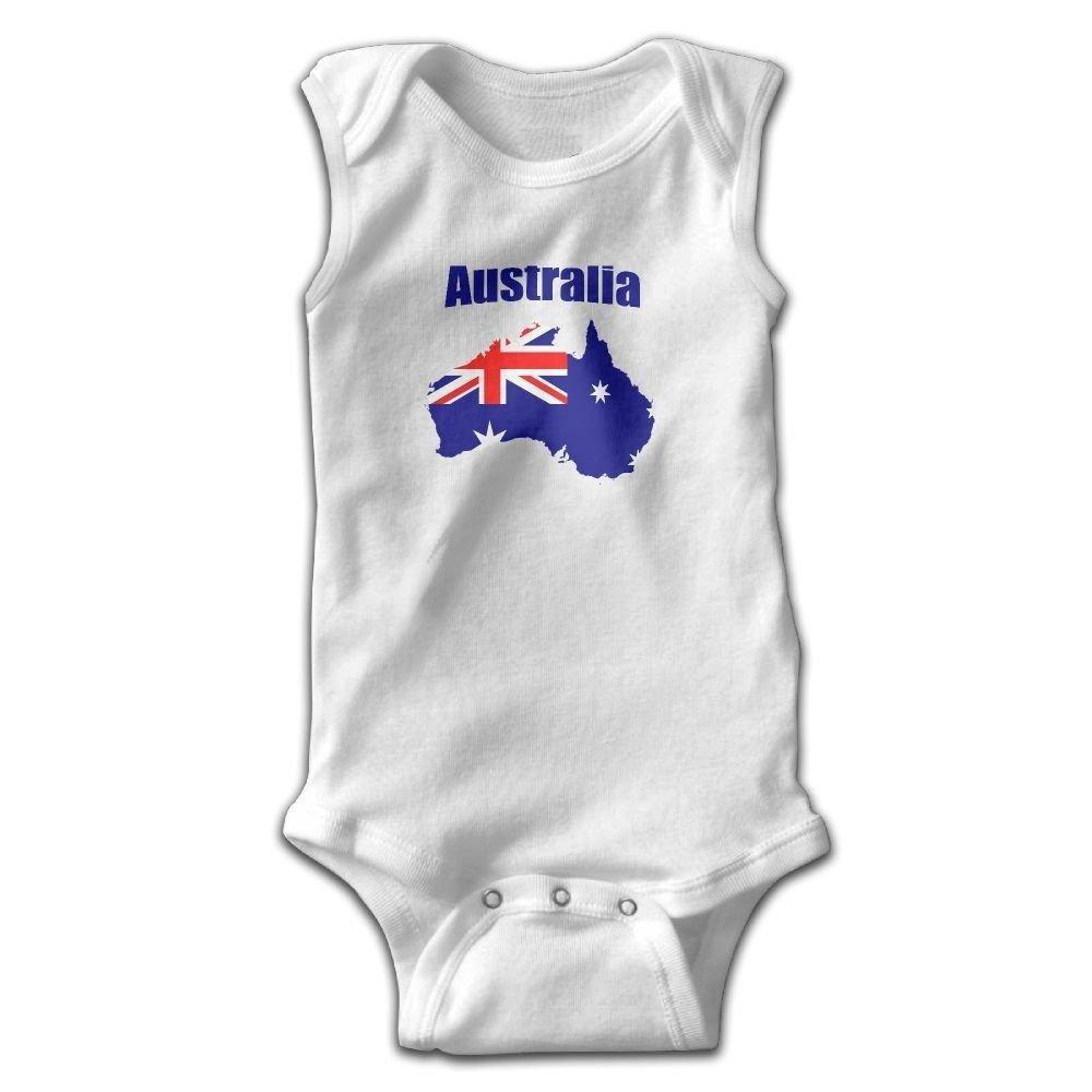 braeccesuit Australia Map Flag Infant Baby Boys Girls Infant Creeper Sleeveless Romper Bodysuit Onesies Jumpsuit White