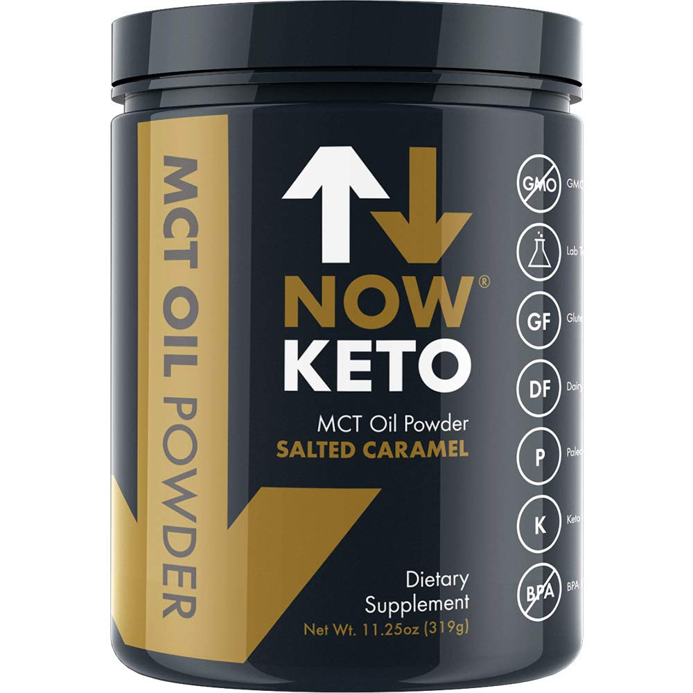 NOW KETO® Keto MCTs Oil Powder from Coconuts | Low Carb High Fat | Medium Chain Triglyceride | Ketogenic Diet Supplement | Boosts Ketones for Keto Diet. Great Keto Coffee Creamer. (Salted Caramel) by NOW KETO