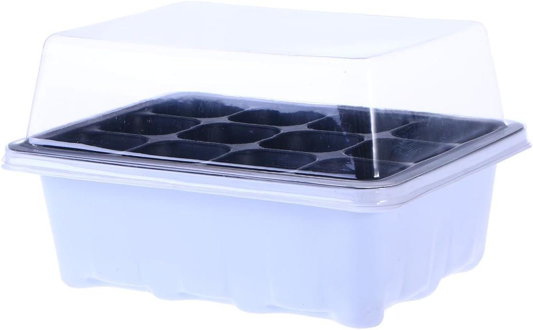 OUNONA Plántula SprouterTray Sprout Plate, caja de la tapa de bandeja de macetas de vivero con 12 cavidades para jardinería Bonsai 18x14x6CM (blanco)