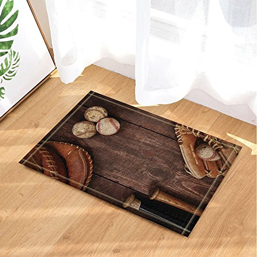- HiSoho Sports Decor Vintage Baseball with Nostalgic Leather Retro Balls on Wooden Bath Rugs Non-Slip Doormat Floor Entryways Indoor Front Door Mat Kids Bath Mat 15.7x23.6in Bathroom Accessories