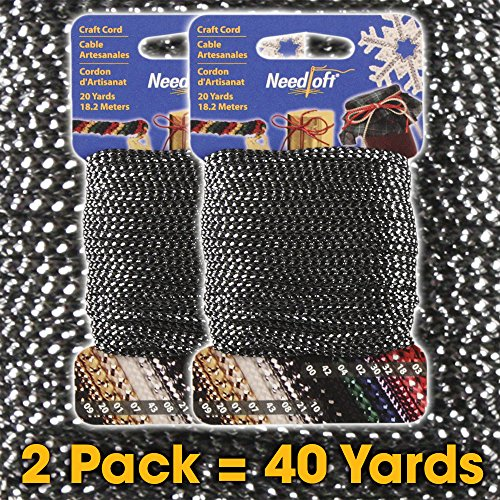 Best Prices! #10 Metallic Black Silver - Needloft Craft Cord 2 Pack 40 Yards (2x20yds)