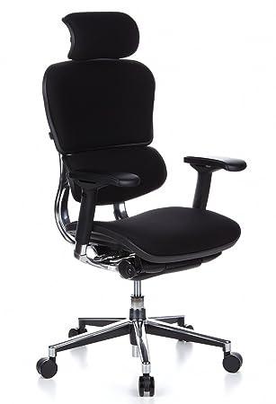 Chefsessel stoff  hjh OFFICE 652610 Bürostuhl Chefsessel ERGOHUMAN Stoff schwarz ...