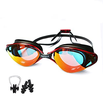 225b0568356 Polersun Adults Swimming Goggles Bundles with Unisex Anti-Fog Mirror Finish  UV Protection High-definition Clear Waterproof Comfortable Shock Resistance  Swim ...