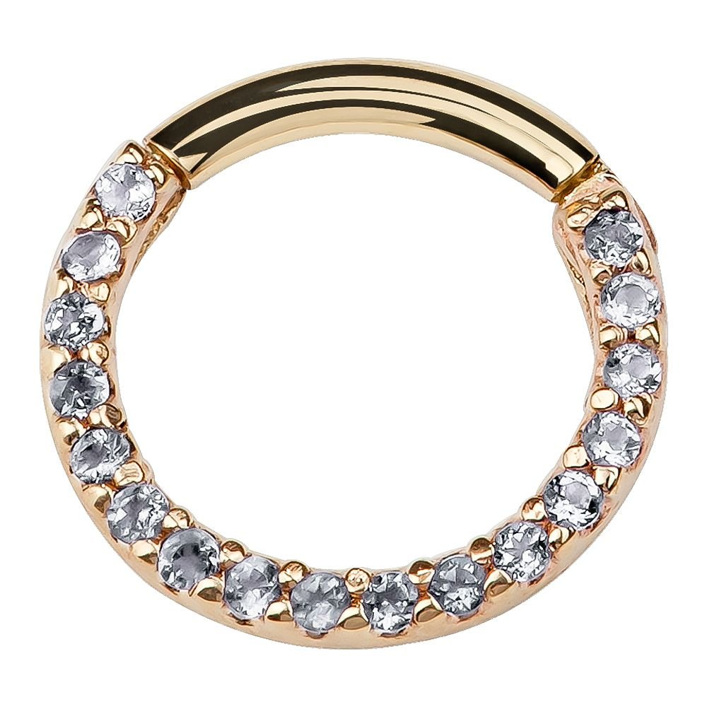 Clear Pave Cubic Zirconia 14K Gold Segment Cartilage Earring Hoop 18 Gauge FreshTrends SEG-1089