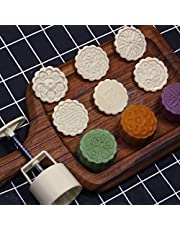 Cookie Stamp Moon Cake Mold with 6 Stamps, Cookie Press Mid Autumn Festival DIY Decoration Press Cake Cutter Mold (75g)