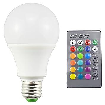 Justdolife Bombilla De Luz LED Bombilla De Globo E27 RGB Bombilla De Luz Decorativa De Humor Cambiante De Color con Control Remoto: Amazon.es: Hogar