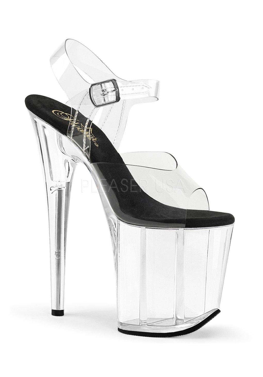 Pleaser Women's Flamingo-808 Platform Sandal B07DKQW5W6 11 B(M) US|Clear-black/Clear