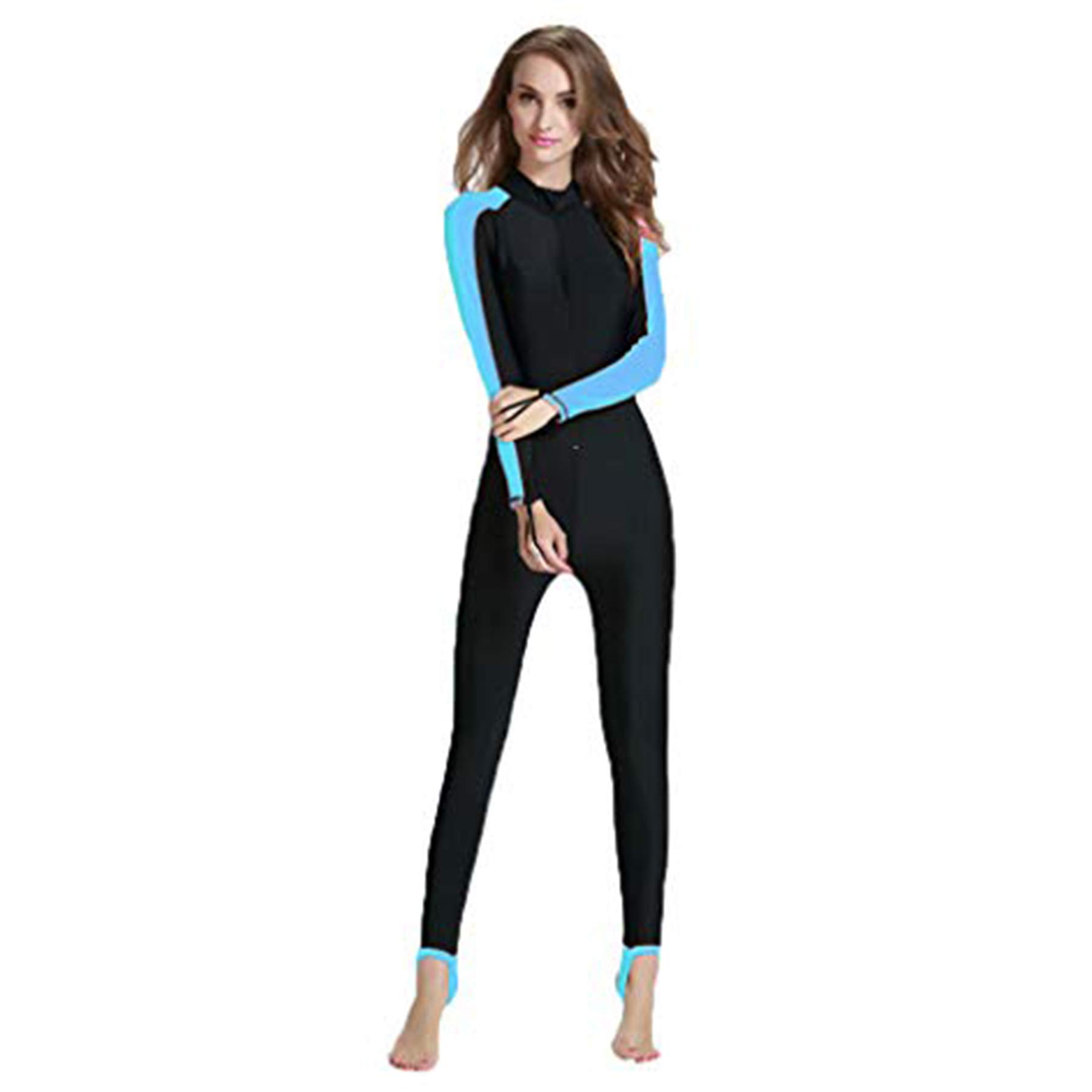 Excursion Sports Women One Piece Rash Guard, UV Protection Long Sleeves Full Body Thin Wetsuit, Dive Skin Bathing Suit for Swimming/Scuba Diving/Snorkeling/Surfing by Excursion Sports
