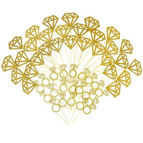 SERONLINE 54pcs Diamond Cupcake Toppers Gold Shiny Princess Diamond Ring Cake Decoration Ring Cake Picks, Baby Shower, Dessert, Birthday Party Decoration
