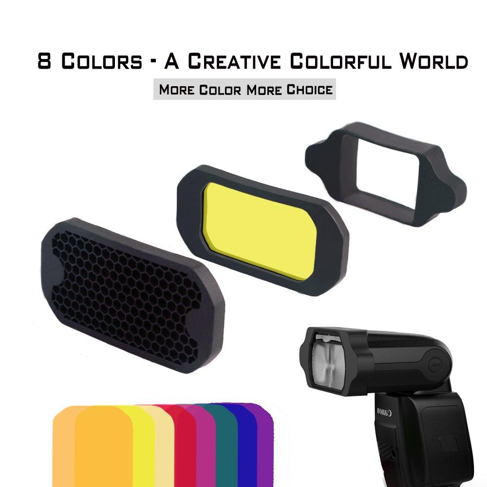 Aodelan Grille et Ensemble de Gel pour Flash gels d/éclairage kit de filtres pour Canon Godox Nikon Yongnuo Cam/éra Flash Light Sony