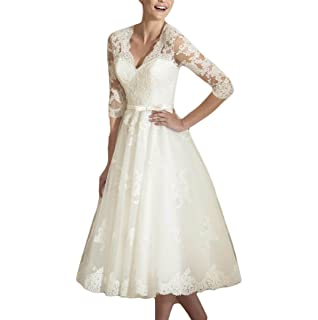 Udresses Vintage Vestidos de Novia Half Sleeve Lace Bridal Wedding Dresses Tea Length D71