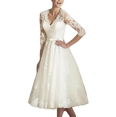 Udresses Vintage Vestidos de novia Half Sleeve Lace Bridal Wedding Dresses Tea Length D71