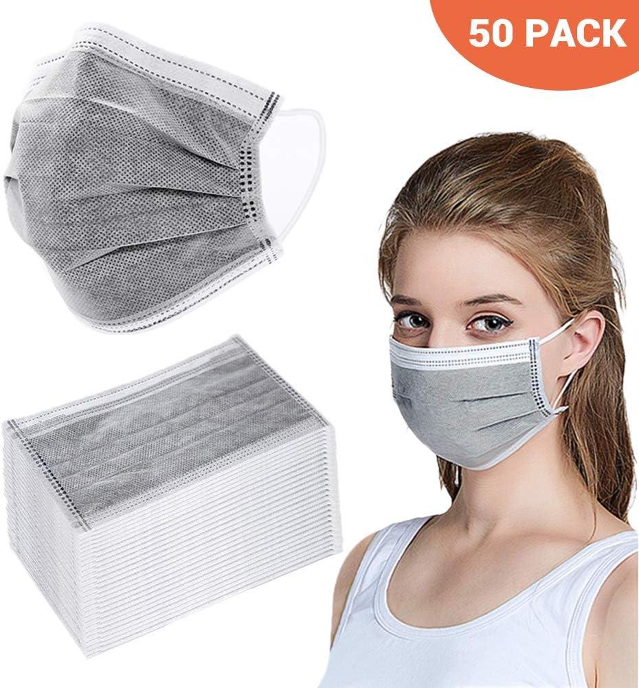 Deeabo Máscaras Desechables de Cuatro Capas de 50 Piezas Máscaras de carbón Activado con Gancho elástico para hospitales, fabricación de Productos electrónicos, talleres, Servicios de Catering