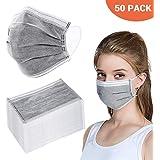 Peahop Einwegmasken 50 Stück 4 Lagige Aktivkohlemasken mit Elastischem Ohrbügel Packung Einweg Gesichtsmasken Atmungs Staubfilter Masken