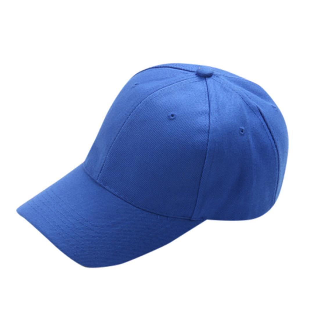 CSSD Boys Girls Summer Caps Solid Hat Unisex Children Teenagers Hats (Blue)