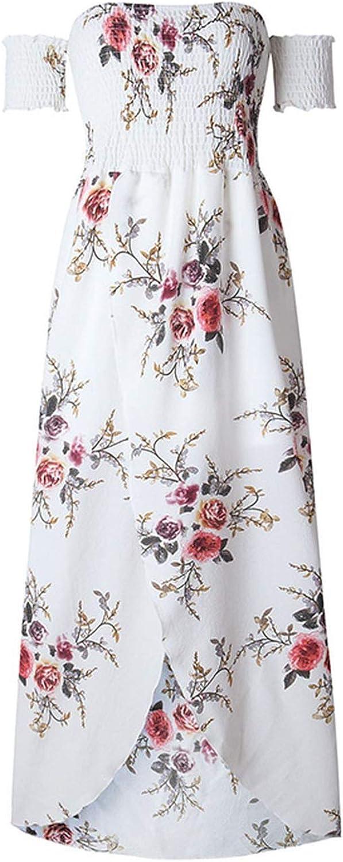 colorful-space Off Shoulder Beach Dress Women Bathing Suit Boho Style Bandeau Long Dresses Print White Beachwear
