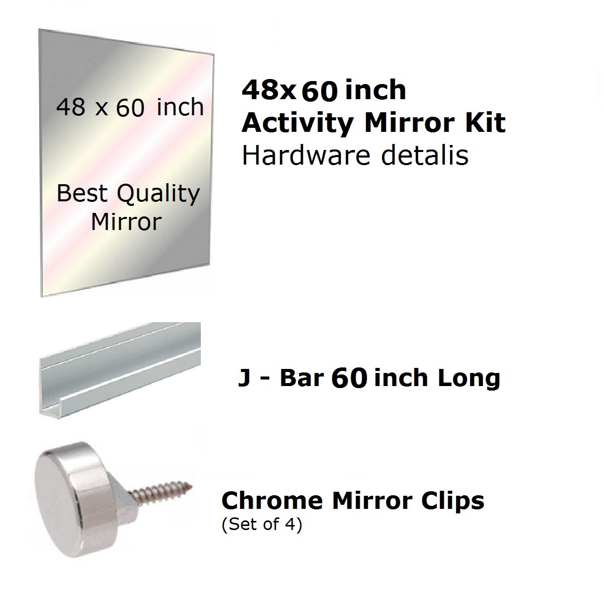 Fab Glass and Mirror GM48x60 Activity Mirror Kit for Gym & Dance with Safety Backing, 48'' x 60''