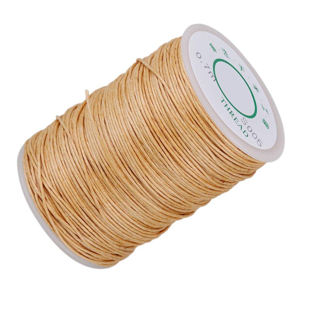 cnbtr 0, 7mm 100m longitud color beige natural del cáñamo hilo redondo encerado fuerte Handwork piel Craft Costura cera línea yqltd BCACS10931
