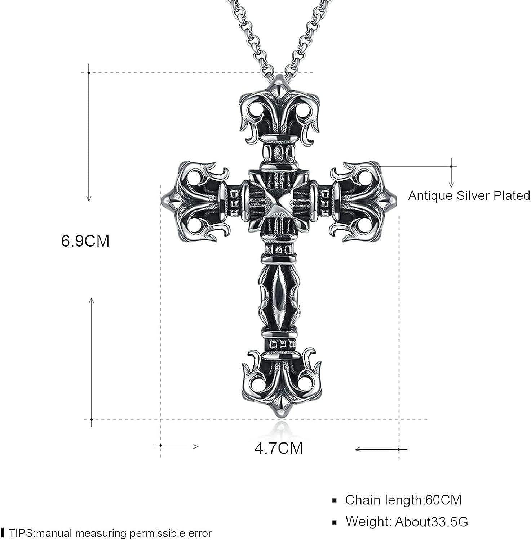 LOPEZ KENT Stainless Steel Vintage Cross Pendant Pendant Necklace for Men Ancient Silver 60CM