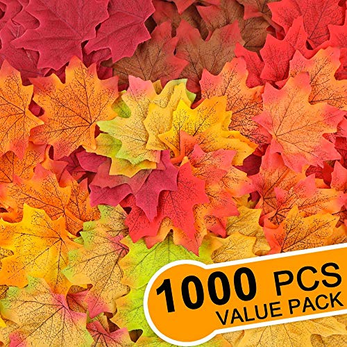 Fall Leaf Crafts (ElaDeco 1000 Pcs Artificial Fall Maple Leaves Fake Autumn Leaf for Thanksgiving Wedding Party Events Indoor Outdoor Wreath Decoration (10)