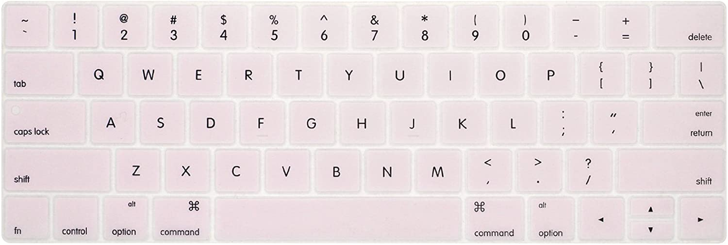 """PapyHall Colorful Silicone Protector Keyboard Cover Skin Keypad Dust-Proof Membrane for 2017&2016 Release MacBook Pro 13"""" Touch Bar A1706 and MacBook Pro 15"""" Touch Bar A1707 - Lightpink"""