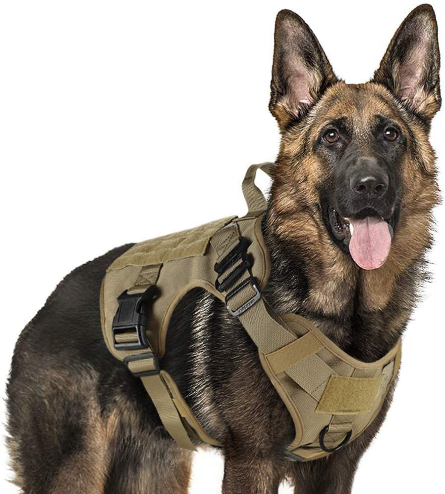 rabbitgoo Arnes Antitirones Perro Táctico de Arnés Perros Grande para Perros de Trabajo Militar con 2 Anillos de Metal Entrenamiento Ajustable sin Tirones para Caminar Cazar Marrón M