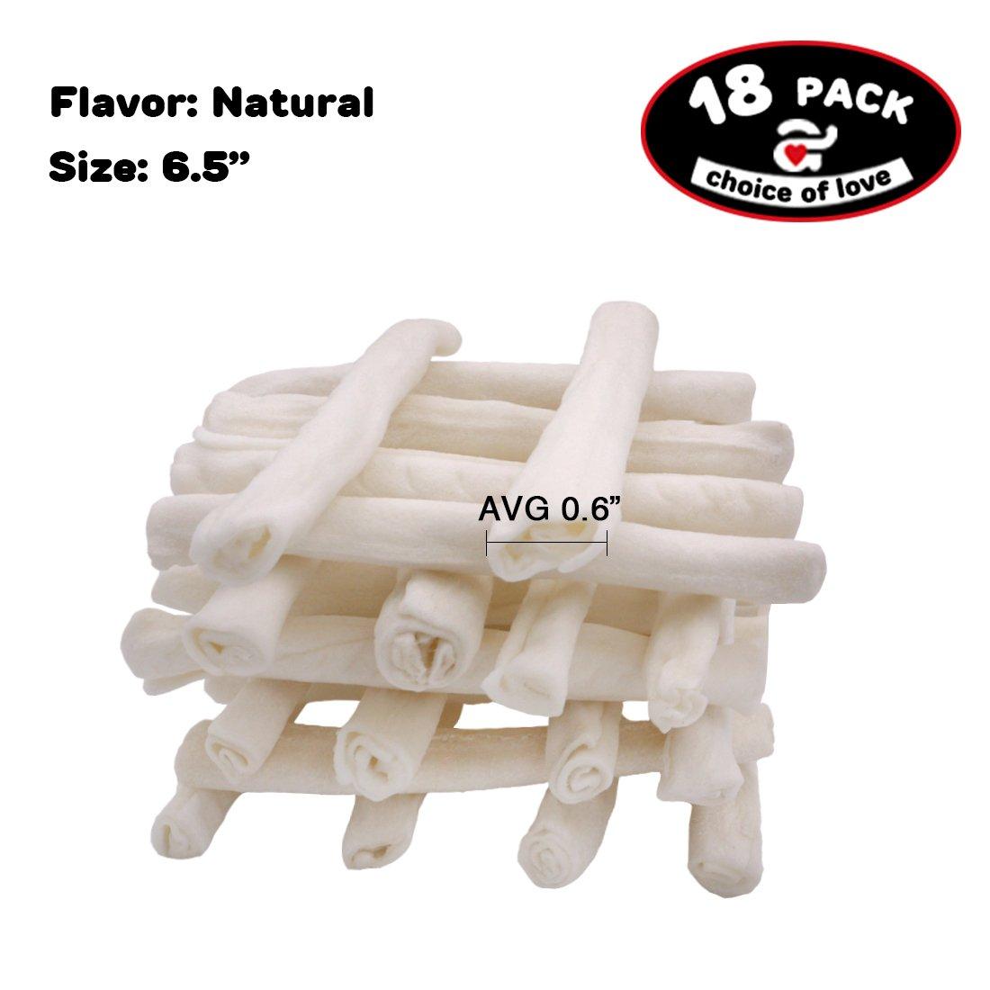 AZUZA 6.5'' Retriever Rolls 18 Count Natural Rawhide Chews for Dog Treats (6.5inch)
