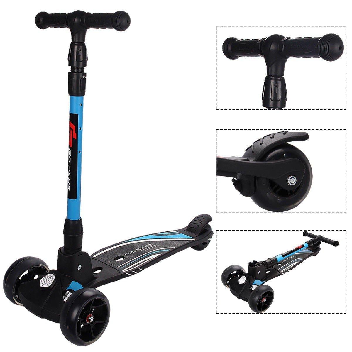 Folding Aluminum Adjustable Height LED 3 Wheels T-Bar Kick Scooter - Blue