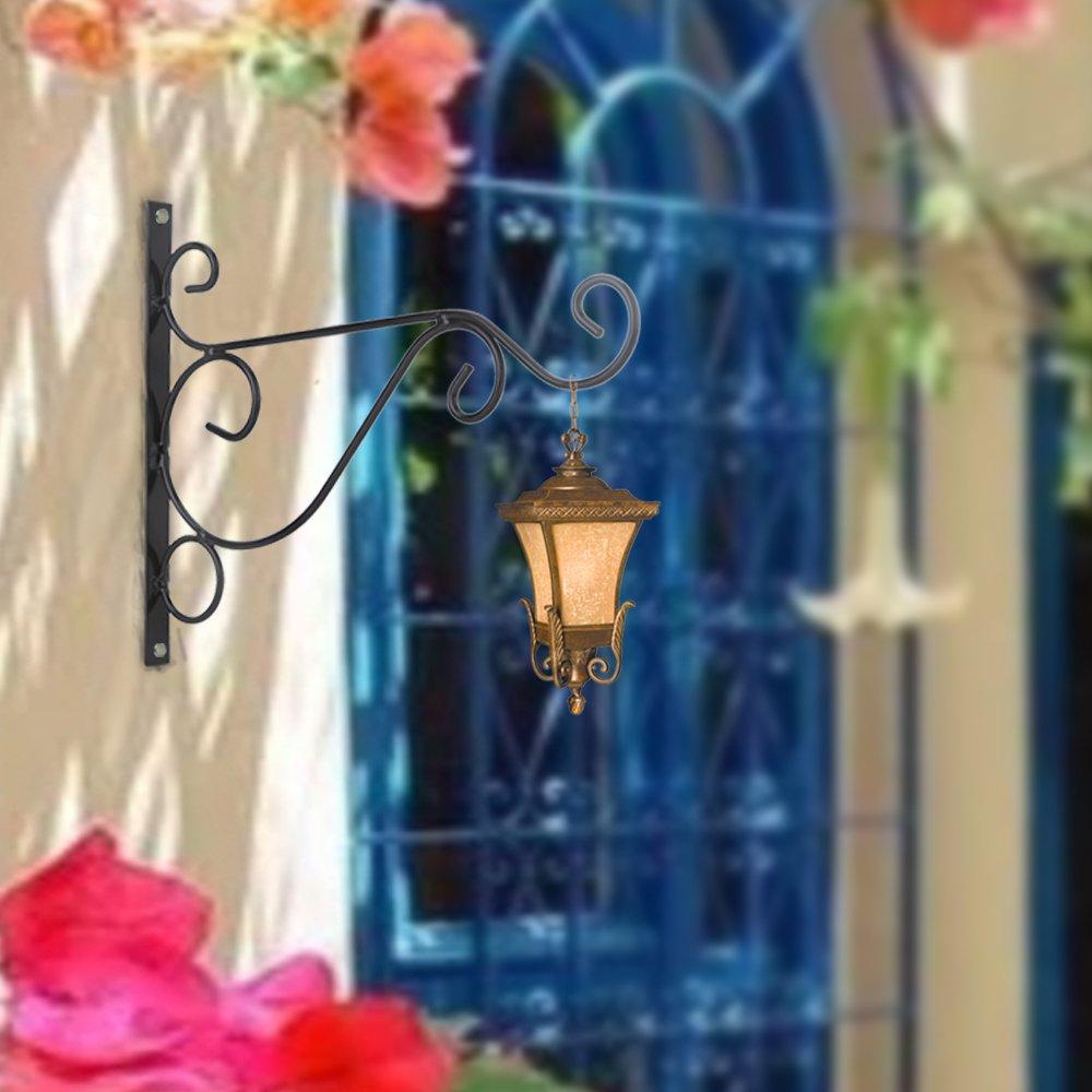 Venfon 3-Pack 10'' Flower Plant Pot Hooks Hangers Outdoor Lawn Iron Bracket For Planter Bird Feeder Lantern Windbell Wind Chimes With Screws (black) by HHXRISE (Image #4)