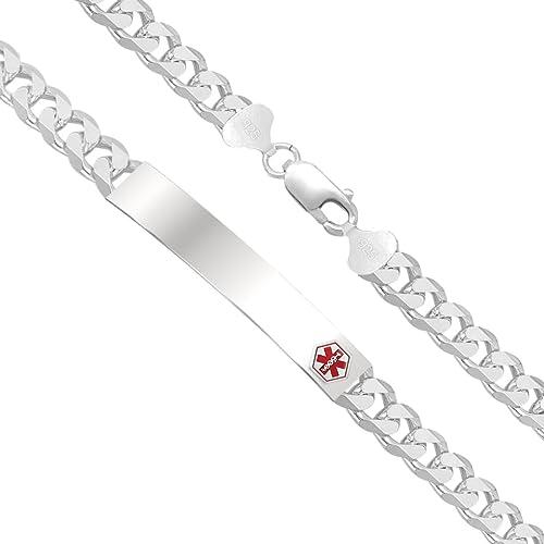Sterling Silver Engravable 8in Medical ID Curb Mens Link Bracelet