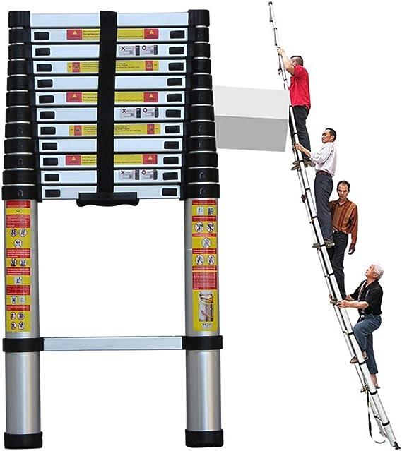 FF Escaleras Telescópicas Multifunción Escalera de extensión de Aluminio Plegable, Escalera telescópica Recta portátil multipropósito, Ideal para Techo Tipo Loft, Soporte de 330 LB (Size : 4.6m/15ft): Amazon.es: Hogar