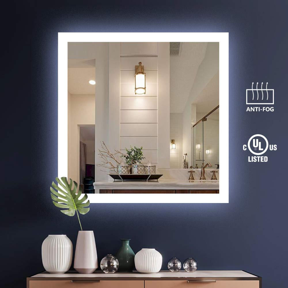 KIVA RHYME 36'' X 36'' Bathroom Make Up Wall Mounted Mirror,UL Listed Square Backlit LED Mirror with Anti-Fog Function (No Touch Button),Perfect for Home Use or Hotel Supplies by KIVA RHYME