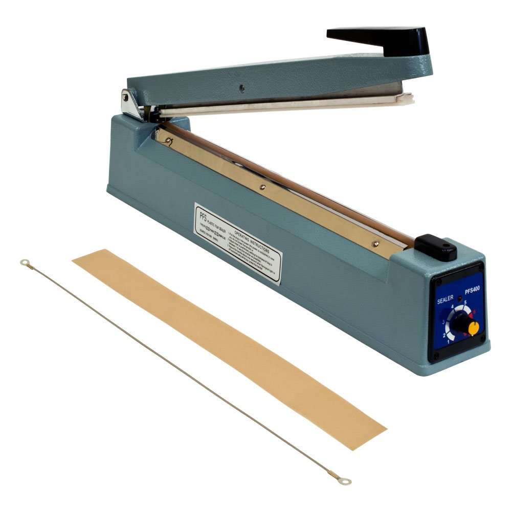 Metronic 16inch//400mm Manual Impulse Manual Hand Sealer Heat Sealing Machine Poly Tubing Plastic Bag with 2 Replacement Kit Blue