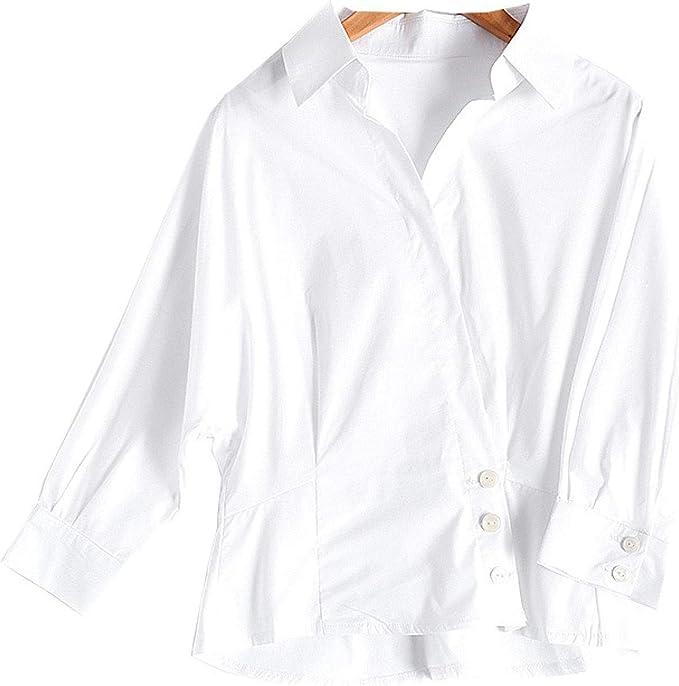 Camisa de Manga Corta de Color Liso con Tapeta Oblicua y ...