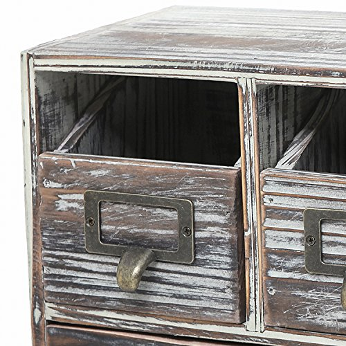 Rustic Brown Torched Wood Finish Desktop Office Organizer Drawers / Craft Supplies Storage Cabinet by MyGift (Image #4)
