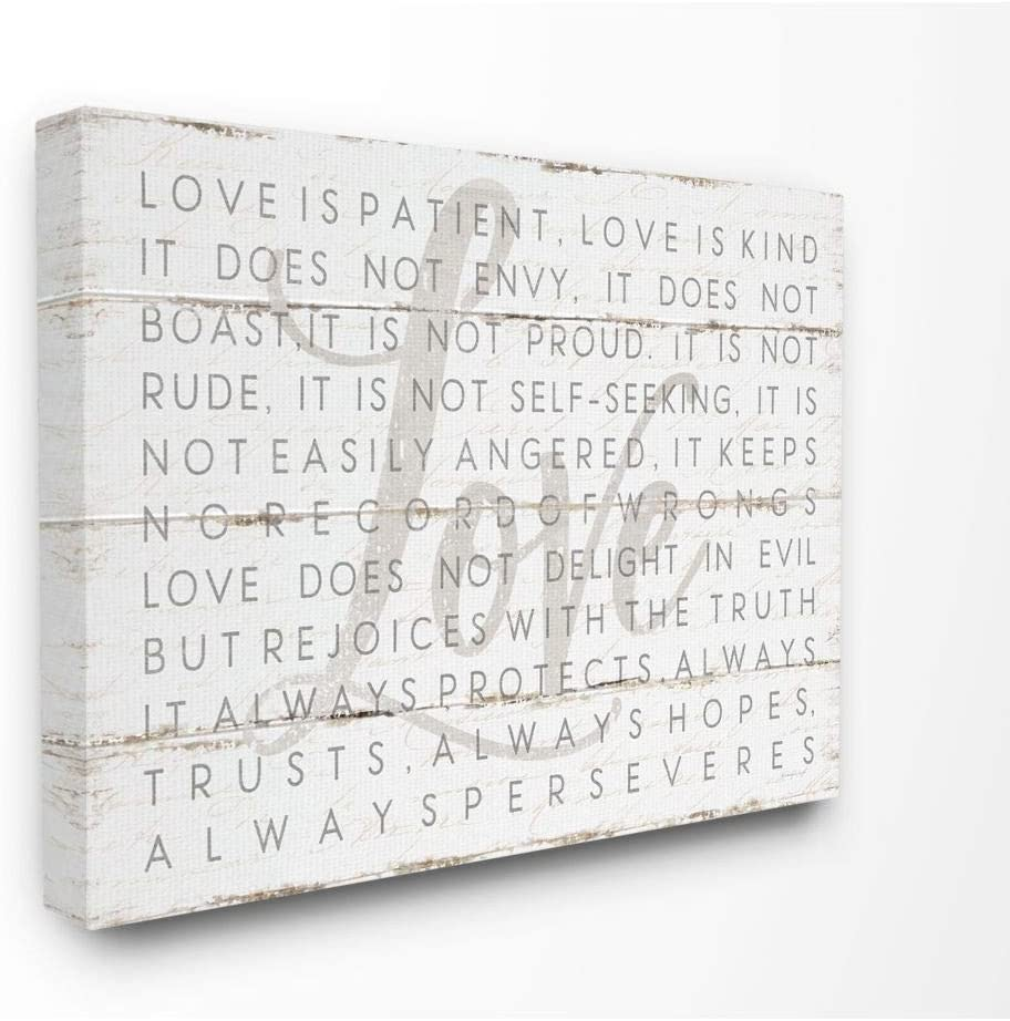 Stupell Industries Love is Patient Grey on White Planked Look Canvas Wall Art, 16 x 20, Design by Artist Jennifer Pugh