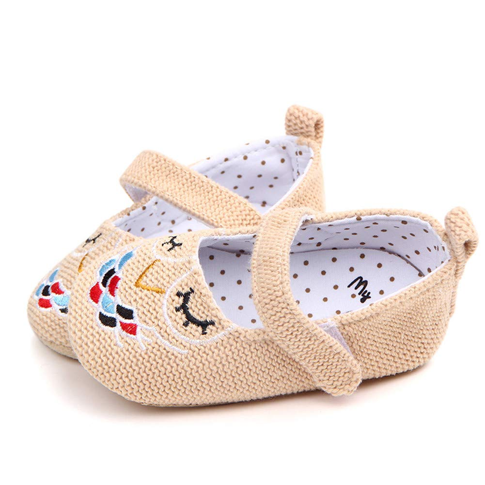 UWESPRING Baby Girls Mary Jane Shoes Cute Cartoon Owl Embroidery with Socks