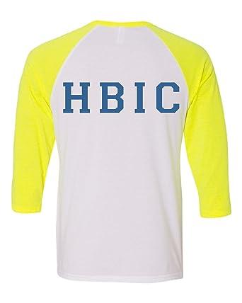 ffb10319 Allntrends Unisex Three Quarter Sleeve Blossom HBIC Trendy Baseball Shirt  (S, White Neon Yellow
