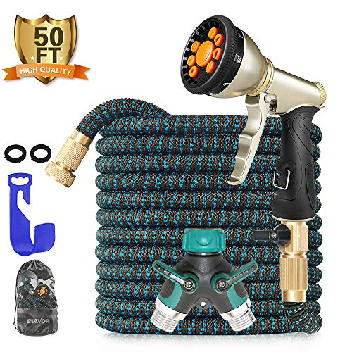 BLAVOR Expandable Garden Hose,Flexible Lightweight Water Hose,Strongest Expanding 4-Layers Latex with 10-Way Water Spray Nozzle, 3/4″ Solid Fittings, 2-Way Splitter,Storage Bag,Hose Hanger (50 Feet)