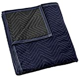 Sure-Max Moving & Packing Blanket - Pro Economy - 80' x 72' (35 lb/dz Weight) - Professional Quilted Shipping Furniture Pad Navy Blue and Black
