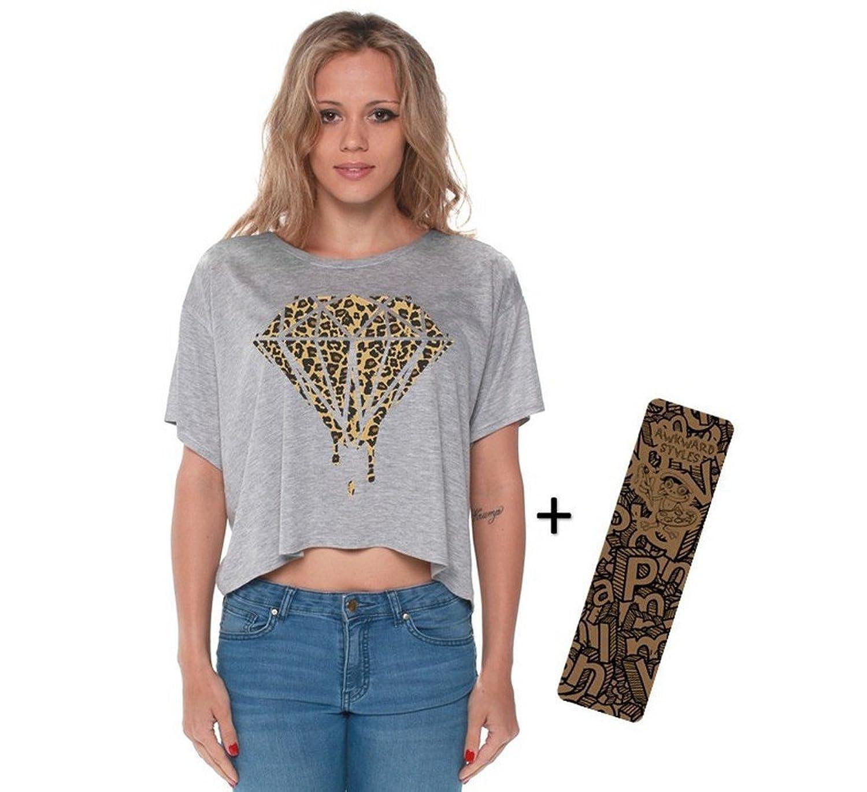 Awkwardstyles Diamond Boxy Crewneck Flowy Crop Top Cheetah Shirt + Bookmark