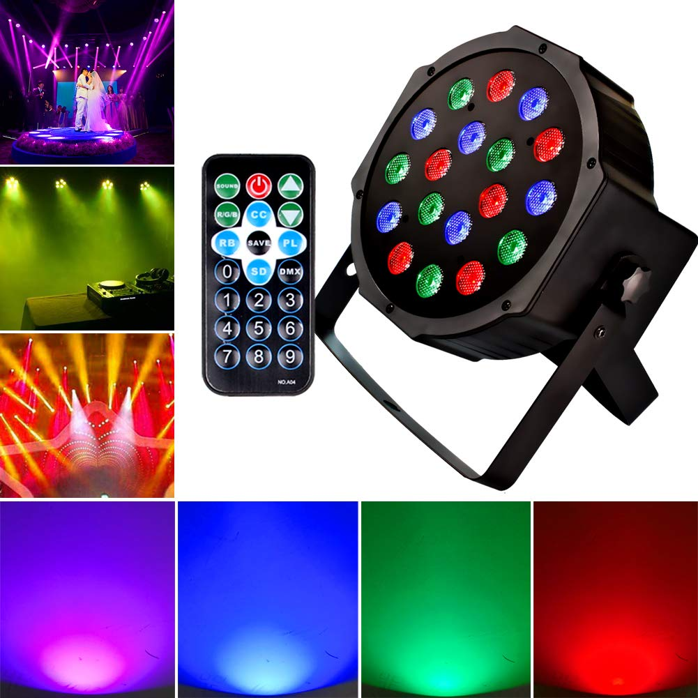 KOOT DJ Stage Light 18 LEDs Par Lighting with RGB - Up Lighting Disco Party Light Club Lights Controlled by Remote and DMX Control - Best for DJ Club Bar Wedding Show