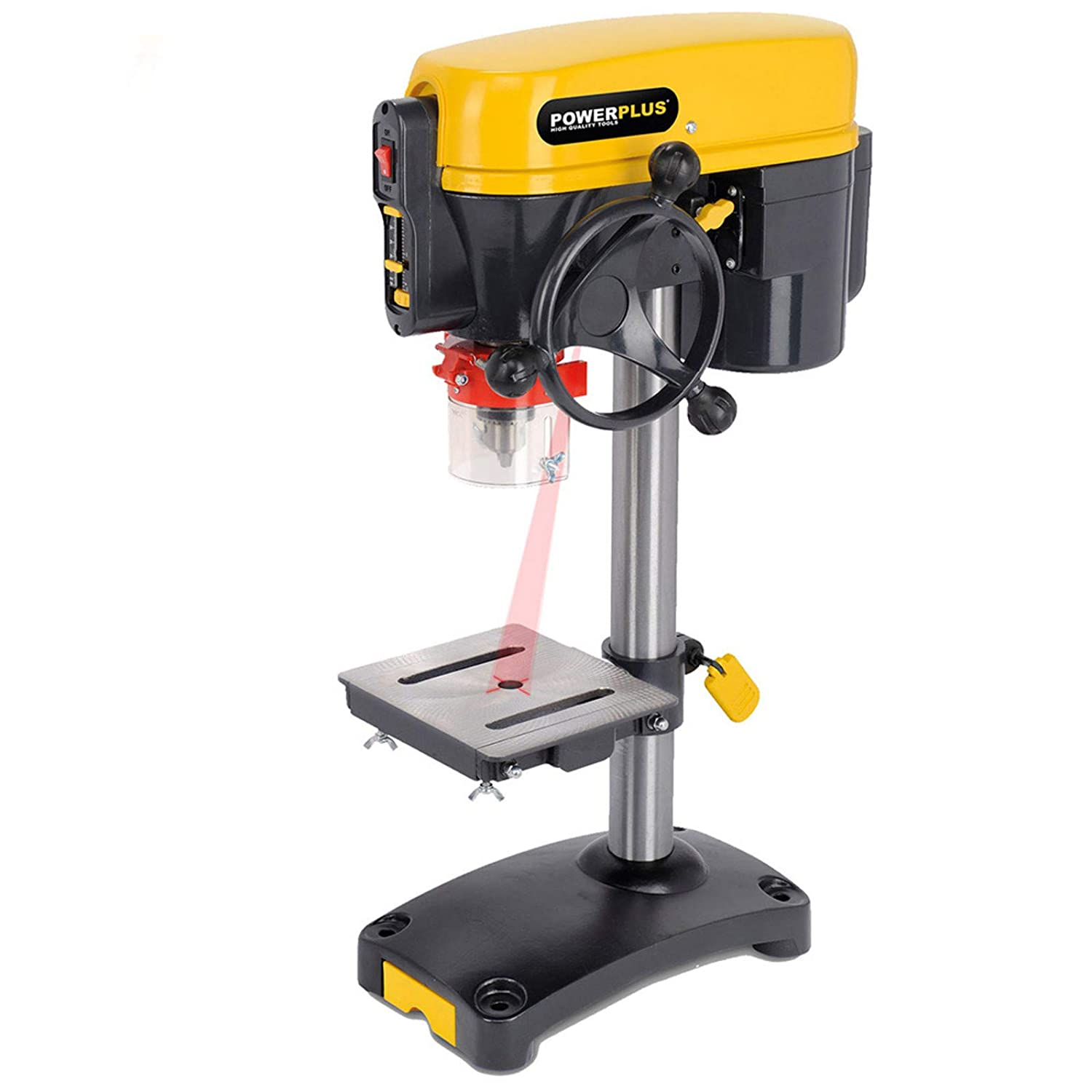 POWERPLUS 5 Speed 350 watt, 240v Motor Bench Mounted Drill Press with Laser Guide POWX152-3 Year Home User Warranty