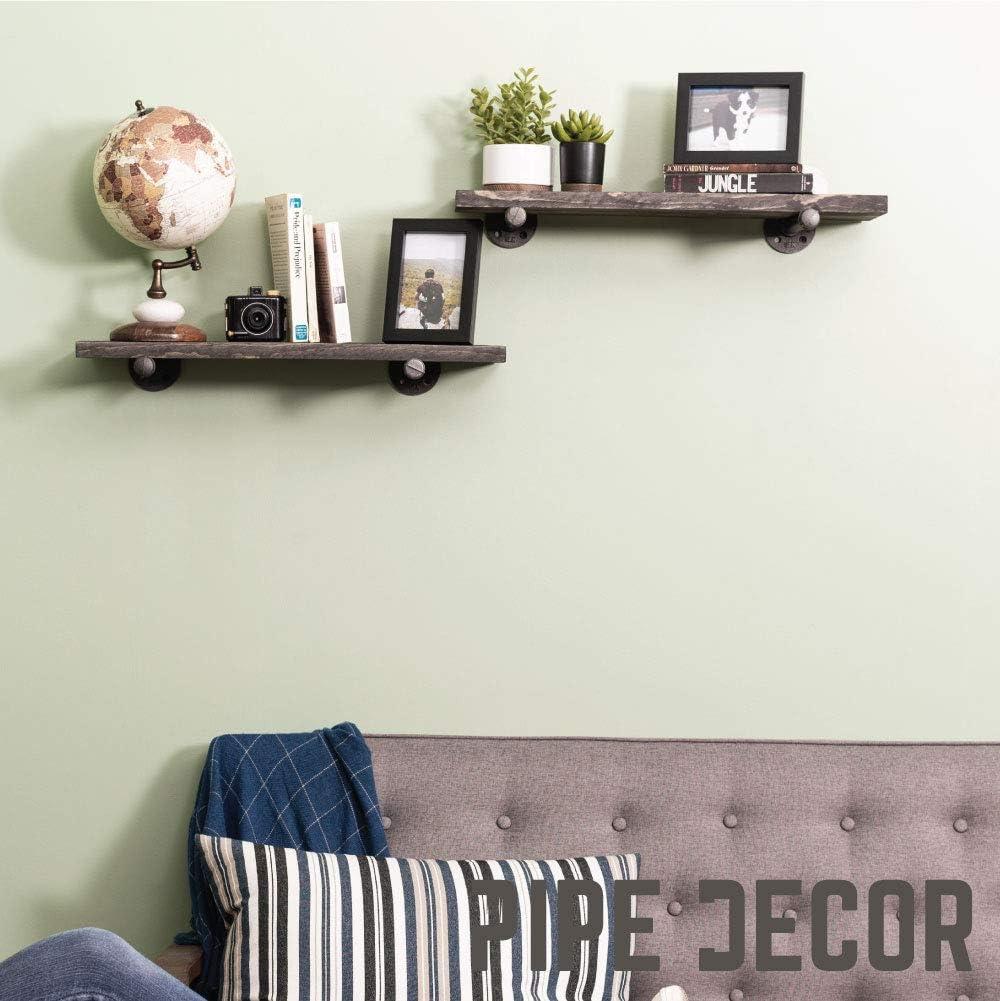 Kitchen Bathroom 24 Long Trendy Modern Home D/écor Organization Home Basics Rectangle Floating Wood Shelf for Living Room Bedroom Grey