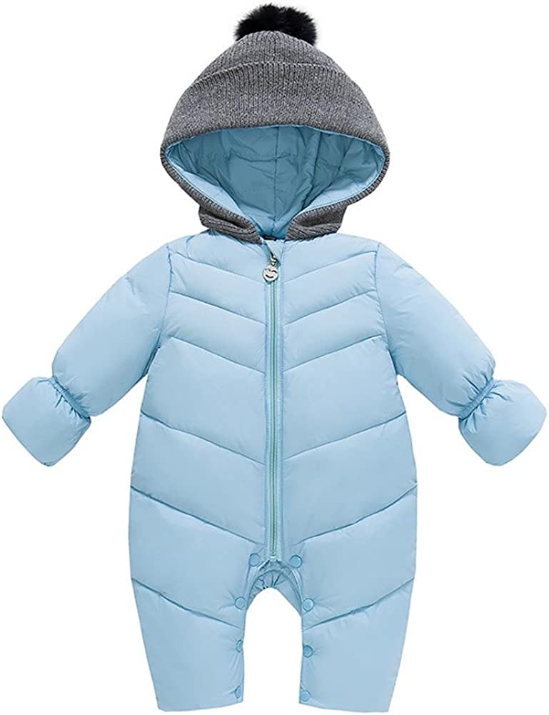 Tortor 1Bacha Infant Baby Puffer Snowsuit Pram Bunting with Knit Pompon Hood