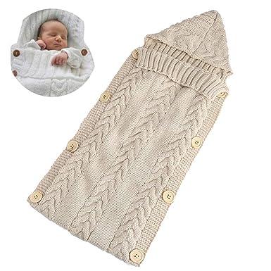 Bebé recién nacido Wrap Swaddle manta de lana de punto para niños Swaddle saco de dormir Sleep Sack Cochecito Wrap Sacos de Sueño Kids (beige): Amazon.es: ...