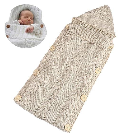 Bebé recién nacido Wrap Swaddle manta de lana de punto para niños Swaddle saco de dormir
