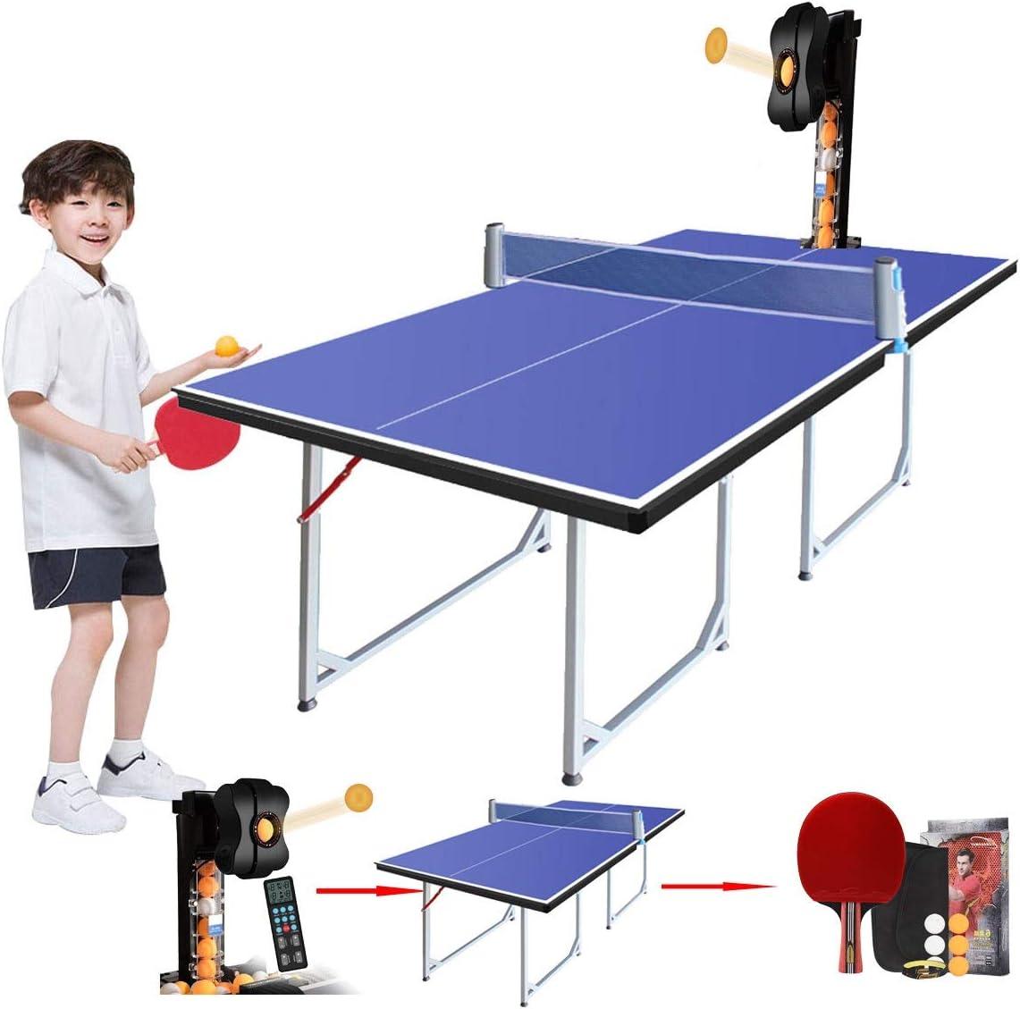 Al Aire Libre Mesas de Ping Pong con Máquina Robot De Ping Pong, Mesa De Ping Pong Plegable con Red De Paleta Y Pelotas, Altura De Regulación Compacta De Tamaño Mediano