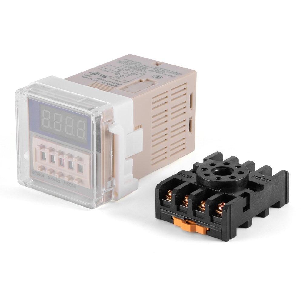 XCSOURCE® H3Y-2 220VAC Relé de retardo de 8 pines Control de temporizador de estado sólido 60 segundos DPDT con base de zócalo BI600