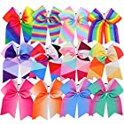 Myamy 7.5 in Large Rainbow Cheer Hair Bows Cheerleading Elastic Pony Tail For Teens Girls Kids 12pcs